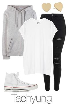 """""""Ideal Type Fashion: Taehyung"""" by btsoutfits ❤ liked on Polyvore featuring Topshop, T By Alexander Wang, Oak, Converse and Kate Spade"""