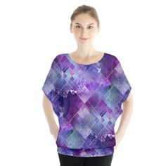 Marbleized Amethyst Pattern. Marbleized Amethyst Blouse Batwing Chiffon Blouse.  Get that gentle billow look with this chiffon blouse complete with a batwing sleeve cutting! Great casual look for the spring and summer when matched with shorts and a pair of sandals.      Made from 100% Polyester Light chiffon semi-sheer material with white underlayer Fully customizable Hand wash in cold water only Designs imprinted using an advance heat sublimation technique