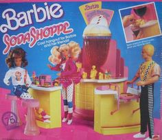Barbie SODA SHOPPE 75 Piece Playset SODA SHOP w Working FOUNTAIN 1988 Mattel Hawthorne ** Details can be found by clicking on the image.
