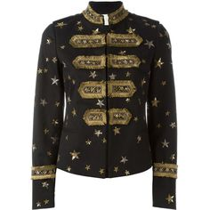 Valentino Embroidered Jacket ($6,730) ❤ liked on Polyvore featuring outerwear, jackets, valentino, black, embroidered jacket, valentino jacket, stand up collar jacket, embroidery jackets and long sleeve jacket