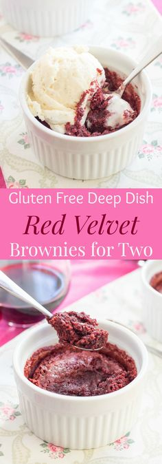 Deep Dish Gluten Free Red Velvet Brownies for Two is a rich, fudgy, decadent dessert recipe that makes just enough for you and your sweetheart! Make it for Valentine's Day! | cupcakesandkalechips.com