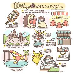 ★ 10 Things To Do When in Osaka ★ by Japan Lover Me Community 1. Try deep fried skewered okonomiyaki in Osaka 2. Visit the life-sized titans at Universal Studios Japan 3. Visit Kuromon Market 4. Visit...