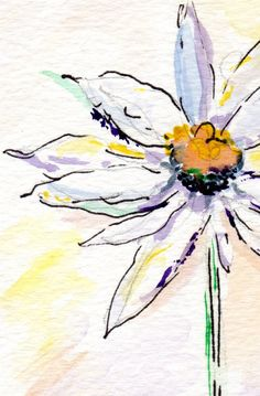 Art Print from Watercolor: One Daisy Flower. $10.00, via Etsy.
