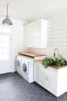How to Get Fixer Upper Style With Shiplap. How to Get Fixer Upper Style With Shiplap. Syd and Shea McGee of Studio McGee are here with an inspired guide to help you achieve the ideal shiplap look for your home. I just love it and I bet Laundry Room Tile, Laundry Room Cabinets, Basement Laundry, Farmhouse Laundry Room, Laundry Room Organization, Laundry Room Design, Storage Organization, Farmhouse Flooring, Kitchen Cabinets