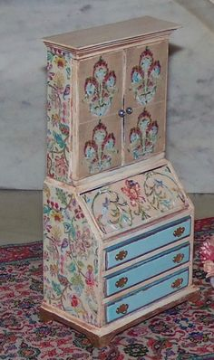 Secretary for 1:12th Dollhouse. Painted and Decoupaged.