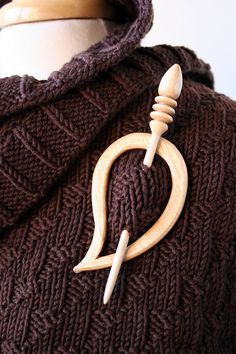 Wood Shawl Pin