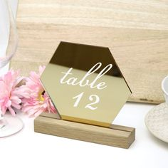Gold Hexagon Table Number  - Acrylic with Timber Base - Printed Wedding Table Decoration - Cafe Restaurant Acrylic Table, Gold Wedding Theme, Acrylic Material, Wedding Table Numbers, Pen Sets, Free Wedding, Cafe Restaurant, Groomsman Gifts, Personalized Wedding