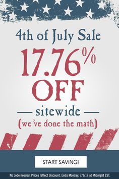 Celebrate Independence Day! Save 17.76% off our entire Navy store.  Offer ends Monday, July 3rd.  No coupon code needed.