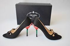 Prada Satin Flower Heel Pumps 39 1 2 Free Priority Shipping Brand NEW | eBay - So of course the one shoe I would probably pretty much die for finally gets posted but it's not within my $250 limit.  Sigh.