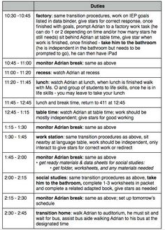 The Autism Helper - Student Schedules/detailed para schedule!  A great template to brainstorm from.  Lots of detail to make the most of each day and the professionals helping you.  Read more at:  http://theautismhelper.com/paraprofessional-schedule/