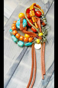 Buddha's Warrior Cuff: Tibetan Turquoise, Saffron, Amber, Brass & Leather Statement Bracelet Hippie Goddess, Beaded Necklace, Beaded Bracelets, Coin Necklace, Necklaces, Tibetan Jewelry, African Trade Beads, Tribal Jewelry, Fashion Bracelets