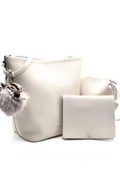 c99b046c1830 3 In 1 Light Gray Leather Shoulder Bag #shoulderbags #purses #womensfashion  Unique Handbags