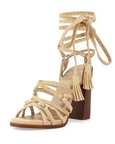Rowan+Suede+Lace-Up+Sandal,+Ecru+by+Michael+Kors+Collection+at+Neiman+Marcus.