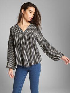 4601253a30f9 Gap Womens V-Neck Blouson Sleeve Top - White Print Xxl Shirt Blouses, Shirts