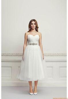 A-linie Organza Schlichte Kurze Brautkleider