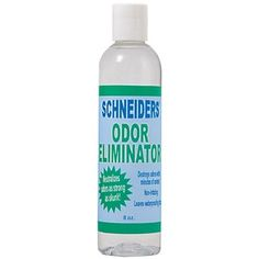 Schneider's Odor Eliminator destroys odors associated with urine, manure, mold, mildew, skunk and anything else that your horse or dog may get into. Use as a laundry additive in rinse cycles to remove stubborn stains-can also be used as a spray on.  Environmentally safe; water soluble, non-toxic, biodegradable, fragrance free. Does not affect waterproofing. Made in the USA. Find this at Schneiders Saddlery!