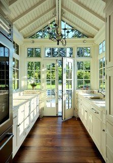 New idea for the kitchen! Expand and move the door over to the kitchen instead of the living room!