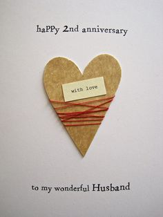 2nd Wedding Anniversary Ideas Cotton : 2nd Wedding Anniversary Keepsake Card Cotton Handmade Traditional ...