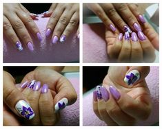 Purple flowers nail art #indigo #mermaideffectpowder #tropicalflower #flowers