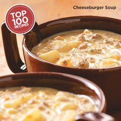 Cheeseburger Soup Recipe from Taste of Home  #Top_100 #Recipe.  I will skip processed velveeta & use grated cheddar cheese instead
