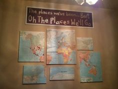 I finally made a map that I used mod podge and canvas. Then pinned in white where I've been, black where my husband has been, and pink/red where we've been together. Map Projects, World Traveler, Diy Design, Adventure Travel, Playroom, Maps, Diy And Crafts, Sweet Home, Gallery Wall