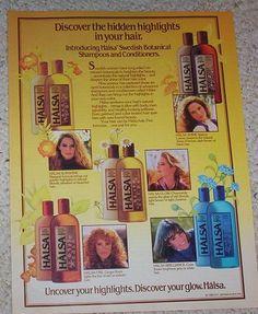 1985 Ad Page SC Johnson Halsa Hair Pretty Girls Vintage Shampoo Advertising LOVED this ad! It had Chamomile.