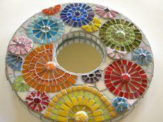 Burst of Flowers Round Mosaic Mirror  Original by TheMosartStudio, $120.00