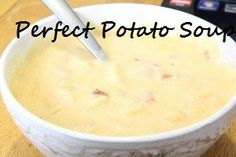 Perfect Potato Soup For A Winter Day - - Recipe for perfect potato soup- weight watchers friendly recipe makes 5 servings at 4 points each. Homemade Potato Soup, Slow Cooker Potato Soup, Ham And Potato Soup, Recipe For Potato Soup, Simple Potato Soup, Crock Pot Potato Soup, Potato Soup Recipes, Potato Soup Vegetarian, Healthy Potato Soup