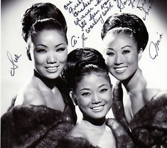"""Classic Ladies of Color An autographed photo of The Kim Sisters (left to right: Sook-ja (or """"Sue""""), Ai-ja, and their cousin, Mia)."""