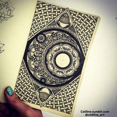 MOON IN A MOLESKINE - zentangle, Doodle, Artwork, drawing, tattoo idea, tattoo design, zen, black, sketchbook, doodling, zendoodle, art piece