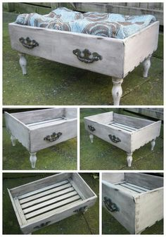 Repurposed dresser drawer, add legs & it becomes a pet bed!!