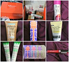 @influenster Fresca Voxbox unboxing!  Here are the goodies I got.  Pure Silk shave cream in Raspberry Mist, Jafra Blends Violet Pomegranate perfume, 3 Jafra Blends vials in Violet Pomegranate, Sea Salt Rose Petals and Blackberry Juniper Magnolia, Sally Hansen Airbrush Legs makeup, Neutrogena Healthy Skin Booster facial cleanser, Not Your Mother's Clean Freak Purifying shampoo and conditioner, and an NYC Expert Last Lip Lacquer in 500 Rockaway Ruby.  I can't wait to try these!