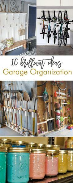 16 brilliant garage organization ideas. Love these!