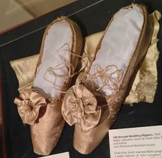 An 1836 Wedding Gown with Matching Slippers Wedding Slippers, Wedding Shoes, Wedding Gowns, Bridal Gowns, Bow Sneakers, Ballet Dancers, Marie, Vintage Weddings, Vintage Hats