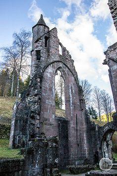 Allerheiligen Abbey ruins above the Allerheiligen waterfalls in the Black Forest of Germany   by SarahLambertCook