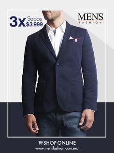Si buscas un atuendo casual en donde luzcas con estilo, implementa un #saco. ¡Se vale usarlo con #jeans! Tienda Online: www.mensfashion.com.mx
