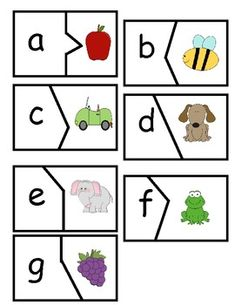 Cute puzzles for Pre-K or Kindergarten! Match the pictures with the letters they begin with! Great literacy center! Kindergarten Centers, Kindergarten Reading, Kindergarten Classroom, Classroom Ideas, Preschool Literacy, Literacy Activities, Teaching Resources, Literacy Stations, Literacy Centers