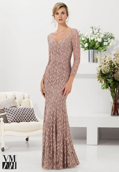 Mori Lee VM 71114 Dress Lace Three-Quarter Sleeves Bead Accents - Fitted, Long Sleeves, V Neck
