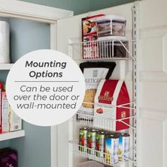 ClosetMaid 8 Tier Cabinet Door Organizer & Reviews | Wayfair Pantry Door Organizer, Door Storage, Storage Spaces, Small Pantry Closet, Tiny Pantry, Modern Grey Kitchen, Grey Kitchen Designs, Shelving Racks, Wall Racks