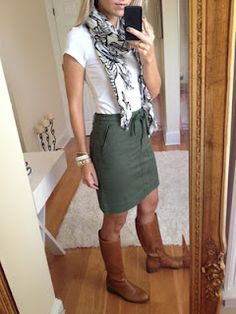 plain white tee + olive skirt + cognac boots + fun scarf. never would have thought of this!
