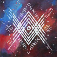 Traditional Latvian folk symbols on celestial background. Acrylic on canvas, 40x40cm. By Brigita Ektermane.