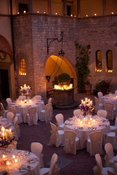 #wedding white #tablescapes...I do love this atmosphere with candles and all the beautiful tradition of a castle...just like a fairy dream!