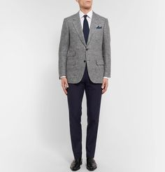 A textured blazer is a characterful way to suit up for the boardroom or business. <a href='http://www.mrporter.com/mens/Designers/Kingsman'>Kingsman</a>'s variety is tailored from a flecked grey herringbone that's woven from silk and linen yarns, giving it the appearance of wool but with a slightly lighter handle. It's subtly padded in the shoulders and cut for a slim fit that's flattering thanks to a double vent in the ba...