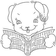 Pattern Detail   Puppy Reading   Needlecrafter