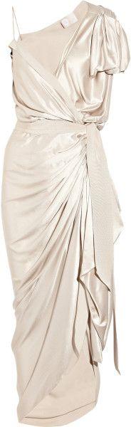 LANVIN Asymmetric Silk Satin Wrap Gown - Lyst