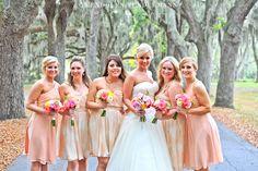 Peach Bridesmaid Dresses | Whitefield Chapel Savannah Wedding Photos
