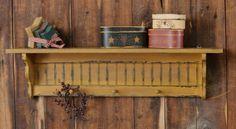New Primitive Country Folk Art Wood Shutter Shelf Peg Hooks Mustard | eBay