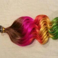 Rainbow I tip human hair extensions $204.99 www.hairfauxyou.com