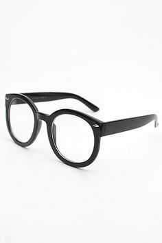 0d66345a47 Oversized Round Super Duper Clear Glasses - Black  1191-1