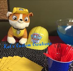 Stuffed Rubble at Paw Patrol Birthday Party
